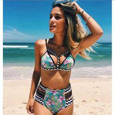 Sexy Floral Print High Waist Swimsuit 2017 Bikini Push Up Swimwear Women Vintage Biquini Bathing Suit Maillot de Bain Femme Sexy Bikini, Push Up Bikini, Brasilianischer Bikini, Cut Out Bikini, Haut Bikini, Bikini 2017, Bikini Beach, Bikini Babes, Bikini Mayo