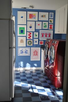 A fun and colorful laundry room