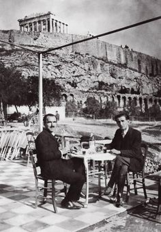 Greece Nikos Kazantzakis and Romanian writer Panait Istrati, under the Acropolis Greece Pictures, Old Pictures, Old Photos, Vintage Photos, Greece History, Modern History, Athens Greece, Ancient Greece, Historical Photos