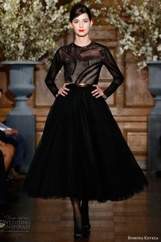 romona keveza fall winter 2013 2014 ready to wear e1356 onyx black long sleeve cocktail dress made of burn out velvet open back tea length s...
