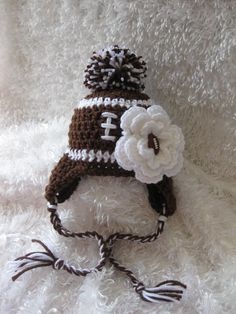 Crochet Baby Girl Football Pom Pom Earflap Hat by crochet2love1