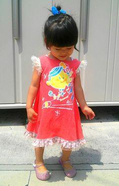 大人服リメイクで簡単子供服!思い出のTシャツを娘のワンピースに!