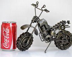 Motor bike (type A) Motorcycle Scrap Metal Sculpture Model Recycled Handmade Art Gift for Anniversary Birthday Christmas Wedding