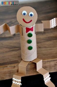 Gingerbread Man Toilet Paper Roll Craft for Kids   Make this adorable recycled craft idea with the little ones this Christmas season!