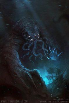As ilustrações de terror com monstros e demônios inspirados por Lovecraft de Richard Luong