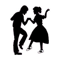 Idea for those under Tell your parents that you saw them dancing on Dick Clark's American Bandstand 50s Dance, Swing Dancing, Ballroom Dancing, Dance Silhouette, Silhouette Clip Art, Bailar Swing, Dance Party Decorations, Black N White Images, Black And White