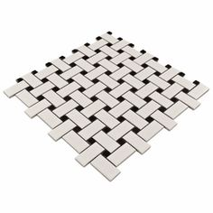 White & Black Basket Weave Mosaic Porcelain Tile