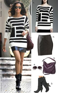 Dress by Number: Padma Lakshmi's Kohl's Sweater and Leather Skirt