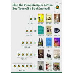 It's that time of year again!  Business Insider has reported that the average pumpkin spice latte will run you a whopping $7.81 ☕️ We can think of a few things we'd rather spend that dough on ❤️ #sorry @therealpsl, it's not personal. we just really like reading! #books4life #booklover #okaywelikecoffeetoo