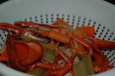 A frugal recipe for lobster stock or lobster broth. This is a great way to use the leftover shells from any type of lobster.