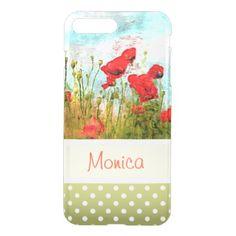#pretty - #Cute Classic Poppy Flowers Meadow Field Watercolor iPhone 7 Plus Case
