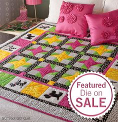 """Fashion this snuggly quilt with the GO! Gingham Dog die and GO! Qube 12"""" Block. You'll LOVE the 12"""" GO! Qube! The die is ONLY $14.99  until 1/31/17 and the GO! Spot GO! Quilt Pattern is FREE!"""