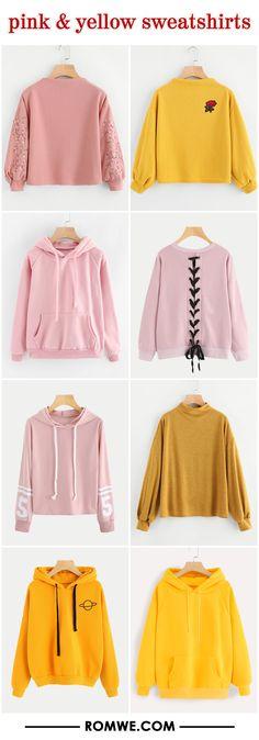 pink & yellow sweatshirts
