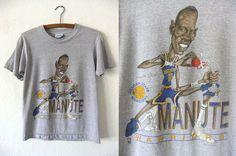 d9be9c822260 Manute Bol Salem Caricature Shirt - Golden State Warriors Throwback Vintage  NBA Basketball Big Head Cartoon Tee - Mens XS