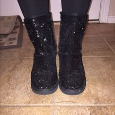 Black sequin boots Black sequin boots. Hardly worn. Arizona Jean Company Shoes Winter & Rain Boots