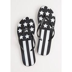 Black American Flag Flip Flops ❤ liked on Polyvore featuring shoes, sandals, flip flops, american flag shoes, black shoes, kohl shoes, black sandals and black flip flops