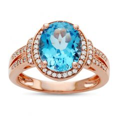 Womens Genuine Blue Topaz Rose Gold Over Silver Cocktail Ring - JCPenney Jewellery Shop Design, Jewelry Shop, Fine Jewelry, Blue Topaz Ring, Silver Earrings, Silver Jewelry, Cocktail Rings, Photo Jewelry, Fashion Rings
