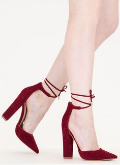 Tied For First Pointy Chunky Heels Ankle Strap Heels, Ankle Straps, Suede Heels, Strap Sandals, Stiletto Heels, Shoes Heels, Stilettos, Burgundy Heels, Purple Heels