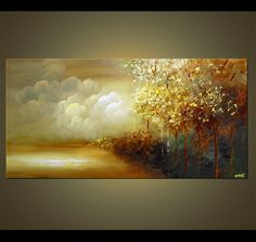 Original abstract art paintings by Osnat - beautiful forest by the sea canvas landscape