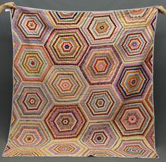 "Vintage hexagons quilt.  As found. 70"" x 80"