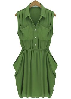 Army Green Sleeveless Twins Pockets Draped Side Chiffon Dress