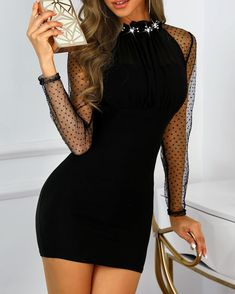 Sheer Mesh Sleeve Studded Bodycon Dress New Arrival Bikinis, Jumpsuits, Dresses, Tops, High Heels on Sale. Refresh Your Picks Now. Sexy Dresses, Short Dresses, Fashion Dresses, Sequin Party Dress, Bodycon Dress Parties, Trend Fashion, Women's Fashion, Mode Outfits, Sheer Dress