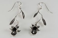 Delicate Earrings Black Orchids Dangle from Leafy by VisualTwists