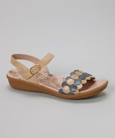 Look what I found on #zulily! Wonders Taupe & Blue Jean Leather Sandal by Wonders #zulilyfinds