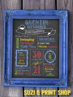 Birthday Chalkboard Sign / Printable / Boys First Birthday Chalkboard Poster
