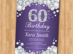60th Birthday Invitation. Rhinestone Diamond Elegant by arthomer