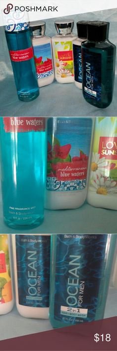 NEW Bath & Body Works Set - Women's & Men's items Women's Mediterranean Blue Waters - Shea Butter & Vitamin E Body Lotion, including the Daily Moisture Complex: 8 ounces and Fine Fragrance Mist: 8 ounces Women's Love&Sunshine - Shea & Vitamin End Body Lotion 8 ounces Men's Ocean for Men - 2in1 Hair & Body Wash: 10 ounces and Body Lotion: 8 ounces  ALL ITEMS NEW AND UNUSED  - I prefer to sell it as a set but Offers are welcome! Bath & Body Works Other