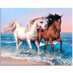 [Visit to Buy] 100% DIY Diamond Mosaic Two horse Handmade Diamond Painting Cross Stitch Kits Diamond Embroidery Patterns Rhinestones Arts VS221 #Advertisement