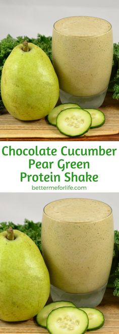 The sweetness of chocolate helps to take the edge off of the kale in this chocolate cucumber pear green protein shake. Besides, who doesn't like chocolate? Find the recipe on BetterMeforLife.com   green protein shake recipes   green protein shakes   healthy green protein shakes   green protein shakes for weight loss   green protein shake recipes weight loss   green protein shake recipes diet #greenproteinshakes #greenproteinshakerecipes #proteinpowder #greenproteinshake #green_protein_shake