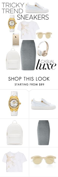 """""""Tricky Trend: Pencil Skirts and Sneakers"""" by ultraviolet92 ❤ liked on Polyvore featuring Audemars Piguet, Giuseppe Zanotti, PB 0110, Alexander McQueen, FingerPrint Jewellry, Zimmermann and Le Specs"""