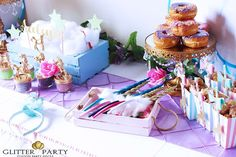 Stunning dessert table at a  unicorn party! See more party planning ideas at CatchMyParty.com!