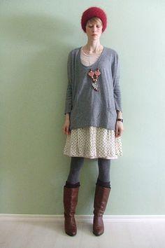 grey tights matched to sweater, dark socks, light skirt