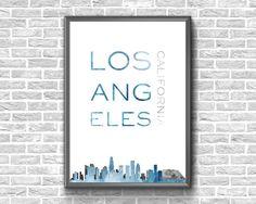 Los Angeles Print  Los Angeles Wall Art  Los Angeles Skyline Printable Maps, Printable Wall Art, Los Angeles Skyline, Etsy Handmade, Art Boards, Flags, Canvas Wall Art, Cities, Greeting Cards