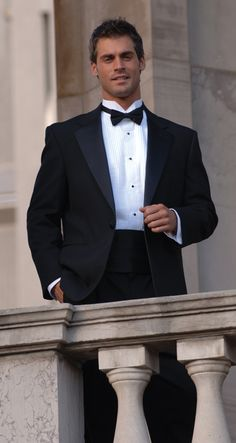 Black tuxedo jacket, black bow tie, white tuxedo shirt with wing tip collar, black shirt studs, black cummerbund - part of the official VMC performance attire! (Hunky model not included) Sharp Dressed Man, Well Dressed Men, Black Tuxedo, Black And White, Tuxedo Suit, Tuxedo Jacket, Charcoal Black, Fashion Moda, Hot Men