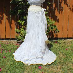 White tiered crinkle wrap skirt with crochet waist