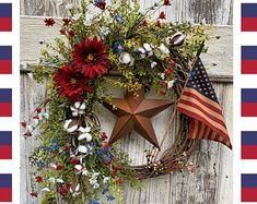 Patriotic wreath Rustic of July wreath Fourth of July decor Front door wreath for of July Americana wreath American Flag wreath Fourth Of July Decor, 4th Of July Decorations, July 4th, 4th Of July Wreaths, Spring Wreaths For Front Door Diy, Memorial Day Decorations, Patriotic Wreath, Patriotic Crafts, Nautical Wreath
