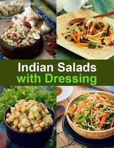 200 Indian Salads with Dressing Recipes, Veg Salad with Dressing Salad iDeas 🥗 Vegetarian Salad Recipes, Healthy Recipes, Cooking Recipes Veg, Vegan Meals, Easy Recipes, Chicken Recipes, Indian Diet Recipes, Indian Salads, Food Articles