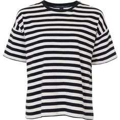 French Connection Carnaby Stripe T-Shirt , Black / Winter White ($53) ❤ liked on Polyvore featuring tops, t-shirts, shirts, tees, short sleeve tops, cotton shirts, black t shirt, black crop top and crop t shirt