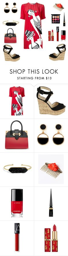 Bold Red And Black by siriusfunbysheila1954 on Polyvore featuring Holly Fulton, Giuseppe Zanotti, Prada, BaubleBar, Warehouse, Christian Louboutin, MAC Cosmetics and Chanel
