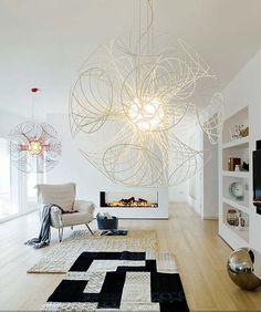 #excll #дизайнинтерьера #решения Скульптурные люстры больших размеров украсят любой интерьер.