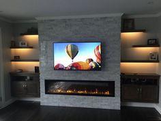 Kamin Wohnzimmer Modern Eingebauter elektrischer Kamin How To Choose Fine Linens For Fireplace Tv Wall, Basement Fireplace, Fireplace Remodel, Fireplace Design, Fireplace Ideas, Fireplace Lighting, Shelves Lighting, Modern Fireplaces, Living Room Tv