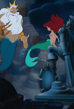 The Little Mermaid 1989 King Triton and Ariel Ariel Mermaid, Mermaid Disney, Disney Little Mermaids, Ariel The Little Mermaid, Disney Girls, Walt Disney, Disney Magic, Disney Art, Disney And More