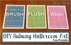 Free Printable DIY Subway Bathroom Art