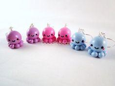 Cute Octopus Kawaii Polymer Clay Charm Earrings by DoodieBear, $12.00