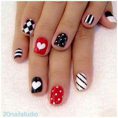 Stripes, dots, hearts nail art. Valentines Day Nail Art.