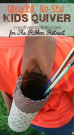 No sew kids quiver upcycled DIY arrow holder